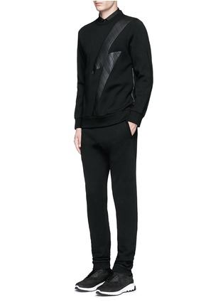 Figure View - Click To Enlarge - Neil Barrett - Leather thunderbolt side zip sweatshirt