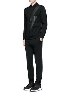 Neil BarrettLeather thunderbolt side zip sweatshirt