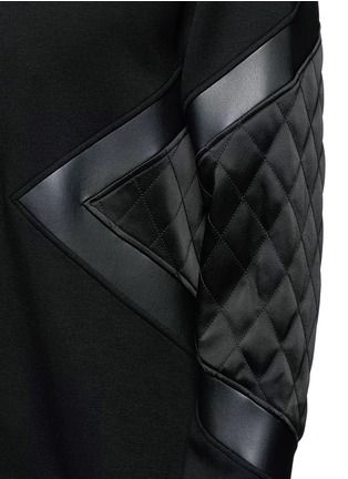 Detail View - Click To Enlarge - Neil Barrett - Quilted satin and leather panelled sweatshirt