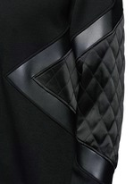 Quilted satin and leather panelled sweatshirt