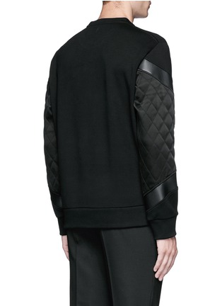 Back View - Click To Enlarge - Neil Barrett - Quilted satin and leather panelled sweatshirt