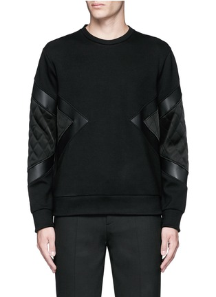 Main View - Click To Enlarge - Neil Barrett - Quilted satin and leather panelled sweatshirt