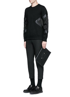Neil Barrett Quilted satin and leather panelled sweatshirt