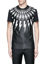 Thunderbolt print faux leather front T-shirt
