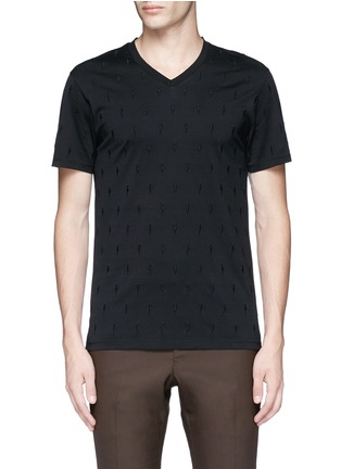 Main View - Click To Enlarge - Neil Barrett - Thunderbolt embroidery V-neck T-shirt