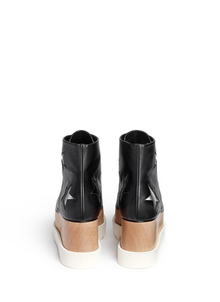 Back View - Click To Enlarge - Stella McCartney - 'Elyse' star alter nappa wood platform boots