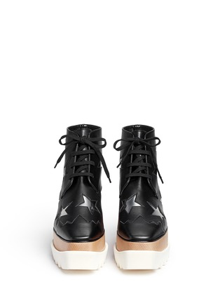 Front View - Click To Enlarge - Stella McCartney - 'Elyse' star alter nappa wood platform boots