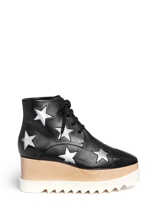 Main View - Click To Enlarge - Stella McCartney - 'Elyse' star alter nappa wood platform boots