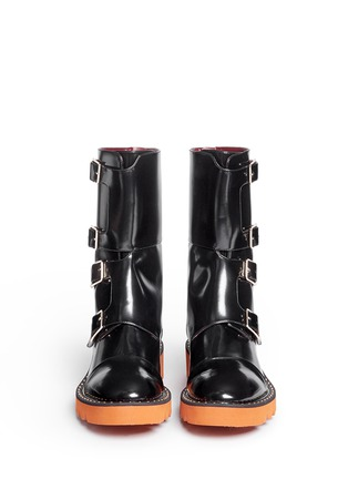 Front View - Click To Enlarge - Stella McCartney - 'Odette' eco patent leather buckle boots
