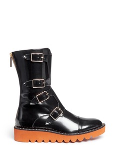 Stella McCartney 'Odette' eco patent leather buckle boots