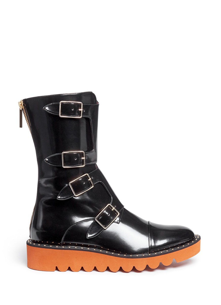 Odette eco patent leather buckle boots by Stella McCartney