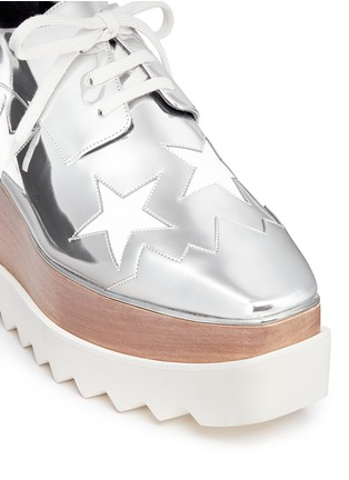 Detail View - Click To Enlarge - Stella McCartney - 'Elyse' star mirror eco leather wood platform derbies