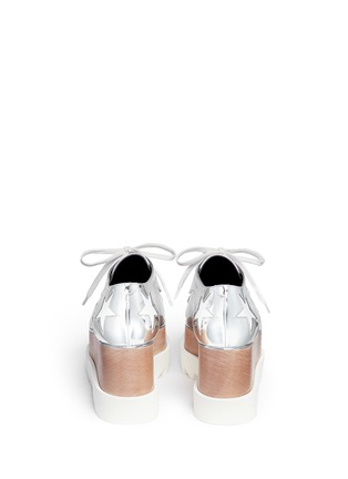 Back View - Click To Enlarge - Stella McCartney - 'Elyse' star mirror eco leather wood platform derbies