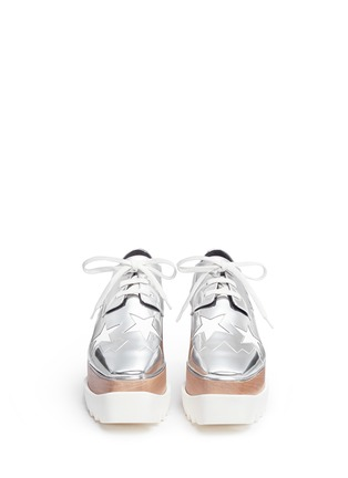 Front View - Click To Enlarge - Stella McCartney - 'Elyse' star mirror eco leather wood platform derbies