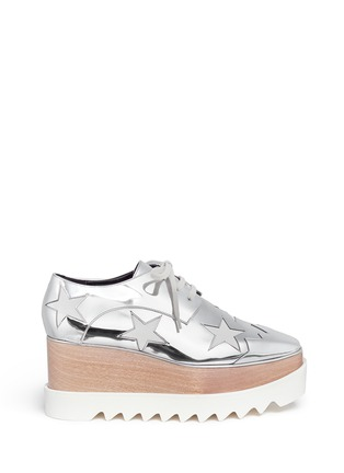 Main View - Click To Enlarge - Stella McCartney - 'Elyse' star mirror eco leather wood platform derbies