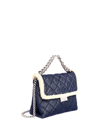 Front View - Click To Enlarge - Stella McCartney - 'Becks' medium faux shearling quilted denim shoulder bag