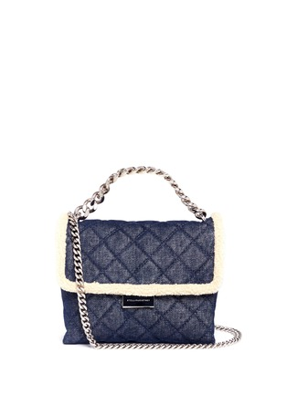 Main View - Click To Enlarge - Stella McCartney - 'Becks' medium faux shearling quilted denim shoulder bag