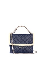 'Becks' medium faux shearling quilted denim shoulder bag