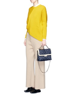 Stella McCartney'Becks' medium faux shearling quilted denim shoulder bag