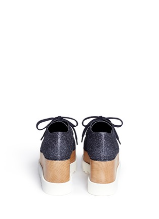 Back View - Click To Enlarge - Stella McCartney - 'Elyse' glitter wood platform derbies