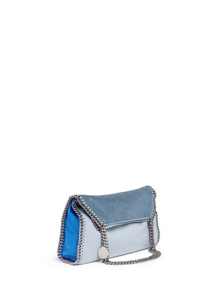 Front View - Click To Enlarge - Stella McCartney - 'Falabella' small colourblock shaggy deer chain tote