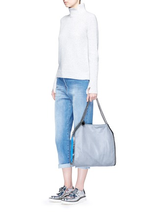 Figure View - Click To Enlarge - Stella McCartney - 'Falabella' small colourblock shaggy deer chain tote