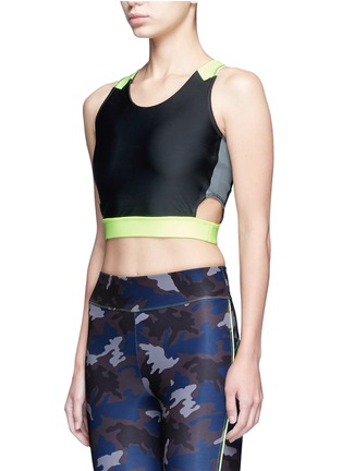 Front View - Click To Enlarge - Laain - Arrow colourblock active sleeveless cropped top