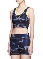 Camouflage print neon double layer cropped top