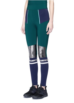 Front View - Click To Enlarge - No Ka'Oi - 'Kalia' faux fur strass stripe performance leggings