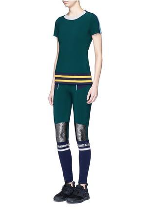 No Ka'Oi-'Kalia' faux fur strass stripe performance leggings
