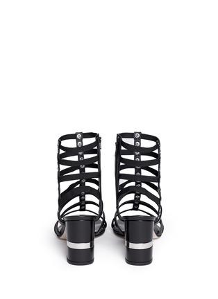 Back View - Click To Enlarge - Stuart Weitzman - 'Gladcleo' leather elastic combo gladiator sandals