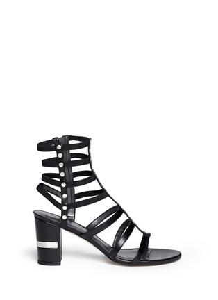 Main View - Click To Enlarge - Stuart Weitzman - 'Gladcleo' leather elastic combo gladiator sandals