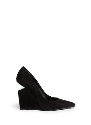 Main View - Click To Enlarge - Alexander Wang  - 'Ine' cutout wedge suede pumps