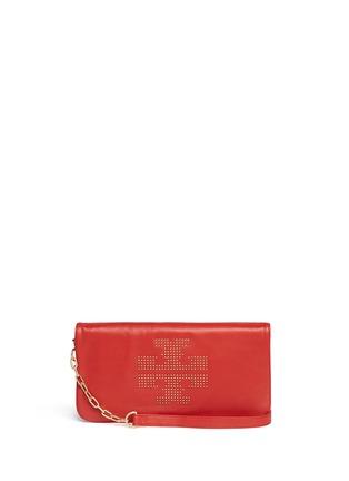 Main View - Click To Enlarge - Tory Burch - 'Reva' logo stud leather crossbody bag
