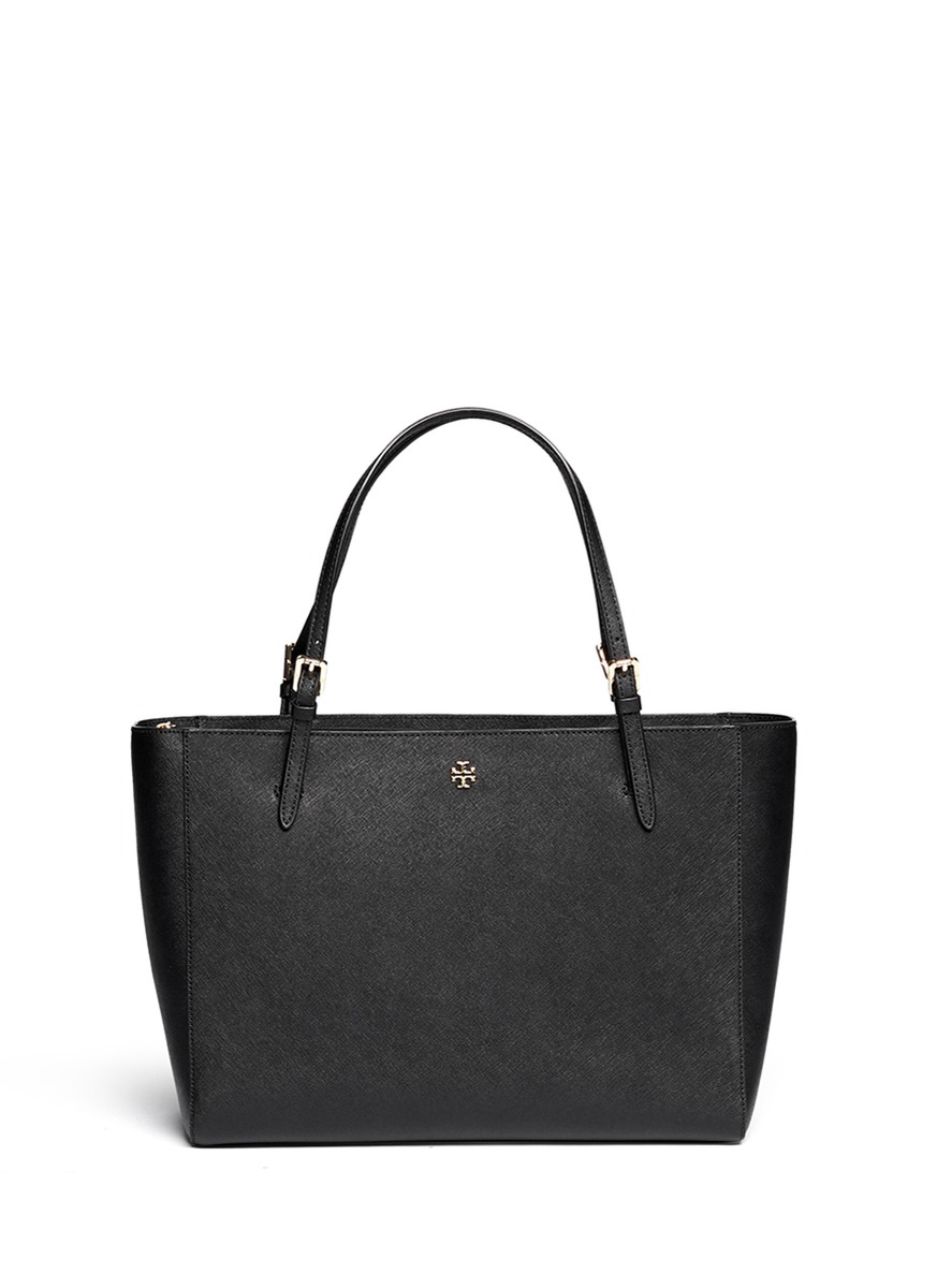York saffiano leather buckle tote by Tory Burch