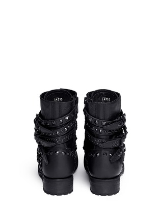 Back View - Click To Enlarge - Ash - 'Rebel' stud strap leather boots