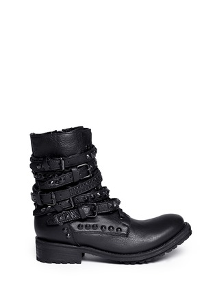 Main View - Click To Enlarge - Ash - 'Rebel' stud strap leather boots