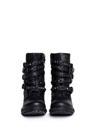 Figure View - Click To Enlarge - Ash - 'Rebel' stud strap leather boots