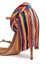 'Rockstud Rolling' embroidered fringe suede sandals