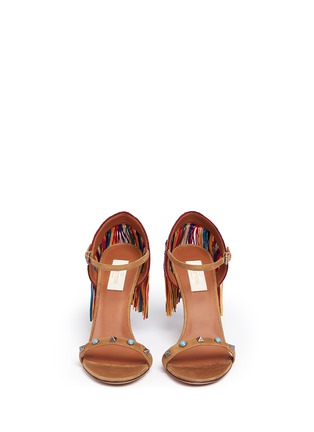 Front View - Click To Enlarge - Valentino - 'Rockstud Rolling' embroidered fringe suede sandals