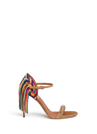 Main View - Click To Enlarge - Valentino - 'Rockstud Rolling' embroidered fringe suede sandals
