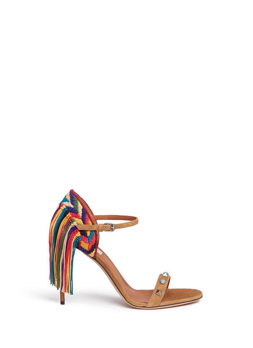 Rockstud Rolling embroidered fringe suede sandals by Valentino
