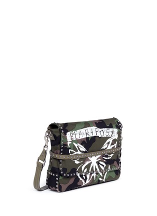 Detail View - Click To Enlarge - Valentino - 'Rockstud' butterfly camouflage print messenger bag