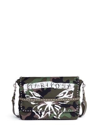 Main View - Click To Enlarge - Valentino - 'Rockstud' butterfly camouflage print messenger bag
