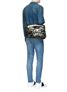 Valentino 'Rockstud' butterfly camouflage print messenger bag