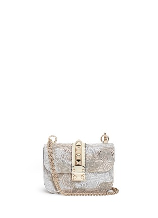 Main View - Click To Enlarge - Valentino - 'Rockstud Lock' Camustars embellished leather chain bag