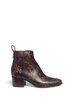 Valentino 'Santeria' embossed leather ankle boots