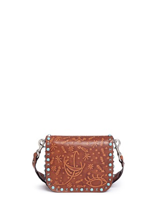 Detail View - Click To Enlarge - Valentino - 'Guitar Rockstud Rolling' Cuban embossed leather shoulder bag