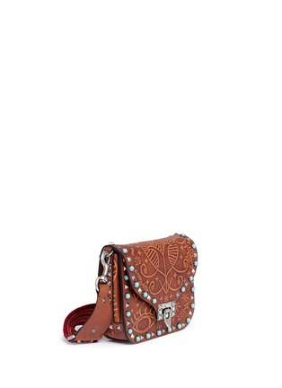 Figure View - Click To Enlarge - Valentino - 'Guitar Rockstud Rolling' Cuban embossed leather shoulder bag