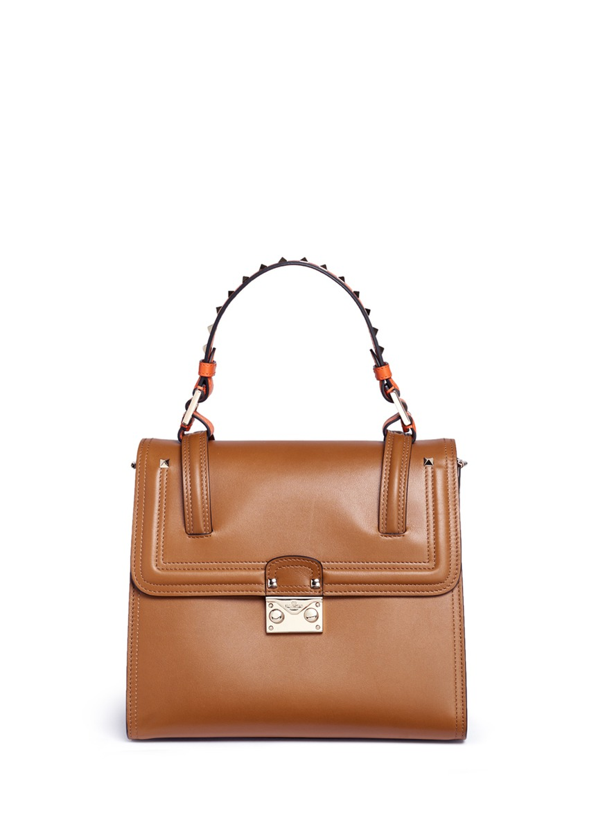Cabana medium leather top handle satchel by Valentino